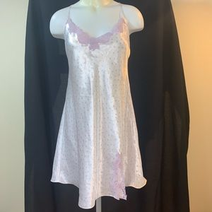 White satiny nightie with polka dots and lace